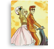 Rose and Tennant - 50's Style Doctor Who Canvas Print