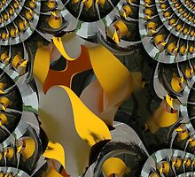 Twisted Yellow Sculpture Fractal by muz2142