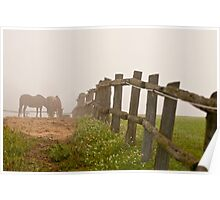 Misty Morning On The Farm Poster
