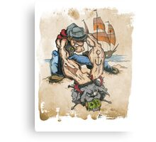 Popeye and His Spinach Metal Print
