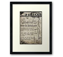 Steampunk Advisory Warning Framed Print