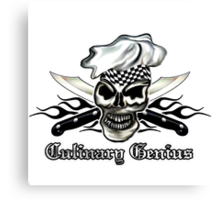 Chef Skull 8: Culinary Genius 3 black flames Canvas Print
