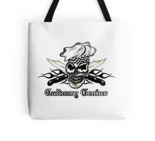 Chef Skull 8: Culinary Genius 3 black flames Tote Bag