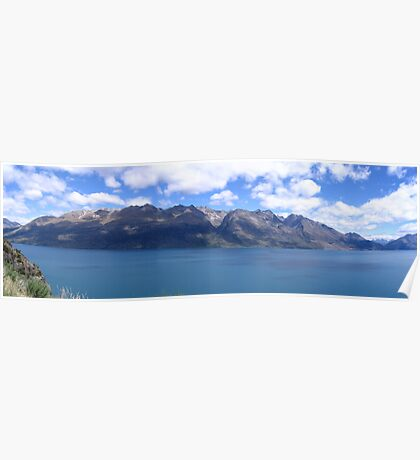 Panoramic view approaching Lake Tepako South Island New Zealand Poster