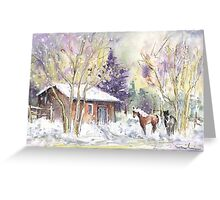 Horses In Voerstetten In Winter Greeting Card