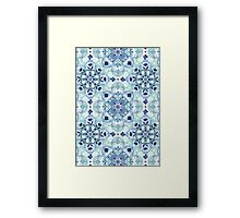 Navy Blue, Green & Cream Detailed Lace Doodle Pattern Framed Print