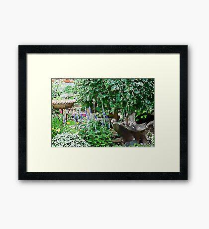 Garden Scene Gouache  Framed Print