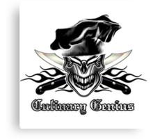 Chef Skull 9: Culinary Genius 3 black flames Canvas Print