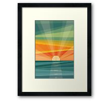 Sunset on beach / green field. Geometric abstract Framed Print