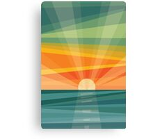 Sunset on beach / green field. Geometric abstract Canvas Print