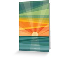 Sunset on beach / green field. Geometric abstract Greeting Card