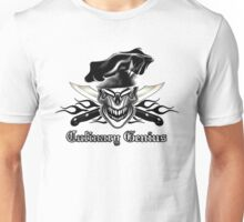 Chef Skull 9: Culinary Genius 3 black flames Unisex T-Shirt
