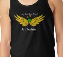 My Guardian Angel Is a Trickster WHITE TEXT Tank Top