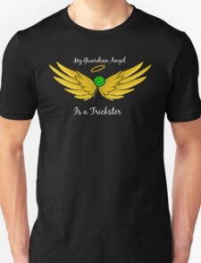 My Guardian Angel Is a Trickster WHITE TEXT Unisex T-Shirt