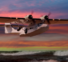 Catalina Flying Boat at Sunset (USAAF Version) Sticker