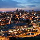 Union Station and Kansas City Skyline - Night by Peggy Lawrey
