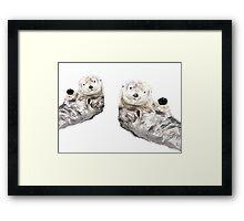 Sweet Loving Sea Otters Couple Framed Print