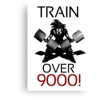 Train over 9000-BW Black Letters Canvas Print