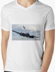 World War 2 Print Battle of Britain - Junkers Ju 88 shadowed by a Spitfire - WW2 Mens V-Neck T-Shirt