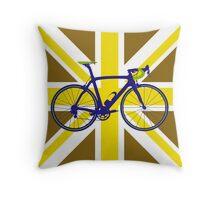 Bike Flag United Kingdom (Gold) (Big - Highlight) Throw Pillow