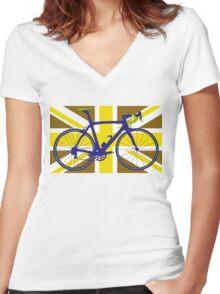 Bike Flag United Kingdom (Gold) (Big - Highlight) Women's Fitted V-Neck T-Shirt