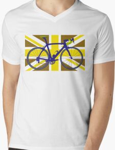 Bike Flag United Kingdom (Gold) (Big - Highlight) Mens V-Neck T-Shirt