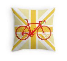 Bike Flag United Kingdom (Yellow) (Big - Highlight) Throw Pillow