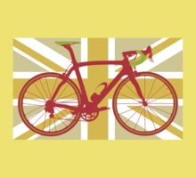 Bike Flag United Kingdom (Yellow) (Big - Highlight) Kids Tee