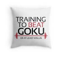 Training to beat Goku - Krillin - Black Letters Throw Pillow