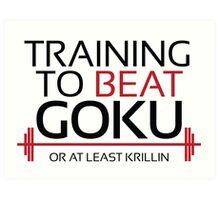 Training to beat Goku - Krillin - Black Letters Art Print