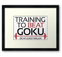 Training to beat Goku - Krillin - Black Letters Framed Print
