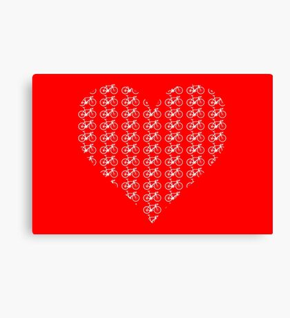 Bike Heart (Red-White) (Small) Canvas Print