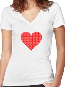 Bike Heart (Red-White) (Small) Women's Fitted V-Neck T-Shirt