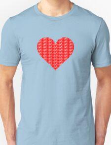 Bike Heart (Red-White) (Small) Unisex T-Shirt
