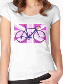 Bike Flag United Kingdom (Pink) (Big - Highlight) Women's Fitted Scoop T-Shirt