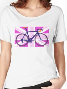 Bike Flag United Kingdom (Pink) (Big - Highlight) Women's Relaxed Fit T-Shirt