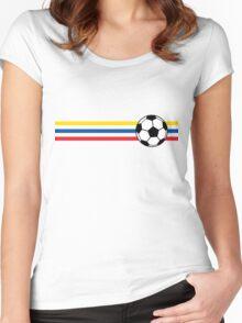 Football Stripes Ecuador Women's Fitted Scoop T-Shirt
