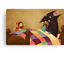Little Red and the wolf in Grandma's house. Canvas Print
