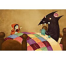 Little Red and the wolf in Grandma's house. Photographic Print