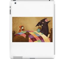 Little Red and the wolf in Grandma's house. iPad Case/Skin