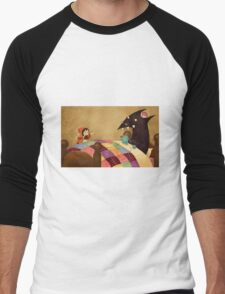 Little Red and the wolf in Grandma's house. Men's Baseball ¾ T-Shirt