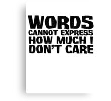 Words cannot express how much I don't care Canvas Print
