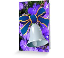 Silver Bell with Royal Blue Ribbon - New Year Card Greeting Card