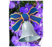 Silver Bell with Royal Blue Ribbon - New Year Card Poster