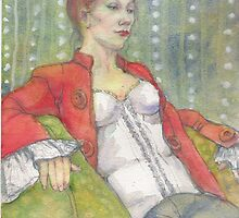 woman in a red jacket by Fiona O'Beirne