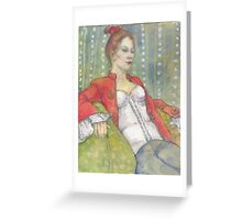 woman in a red jacket Greeting Card