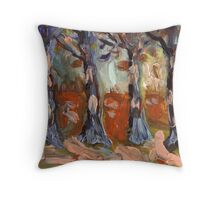Woodland finger painting Throw Pillow