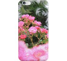 Painterly Pink Wild Roses with Green White Swirls iPhone Case/Skin