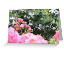 Painterly Pink Wild Roses with Green White Swirls Greeting Card