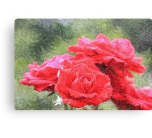 Painterly Red English Roses with Green Swirls Canvas Print